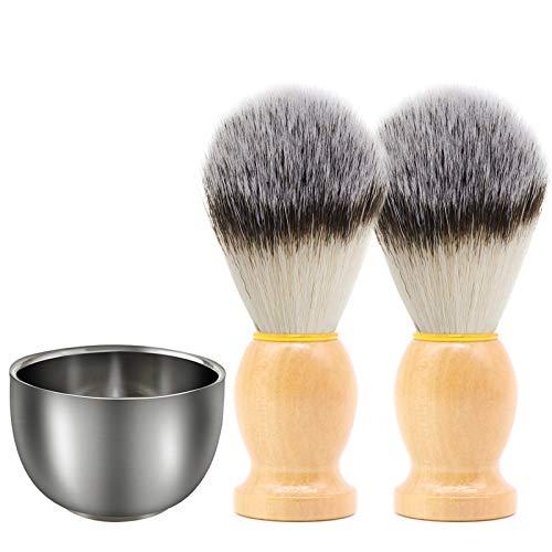 SourceTon - Juego de 3 brochas de afeitar y jabonera para afeitar, 2 brochas de afeitar con mango de madera y taza de acero inoxidable para herramientas profesionales de peluquería