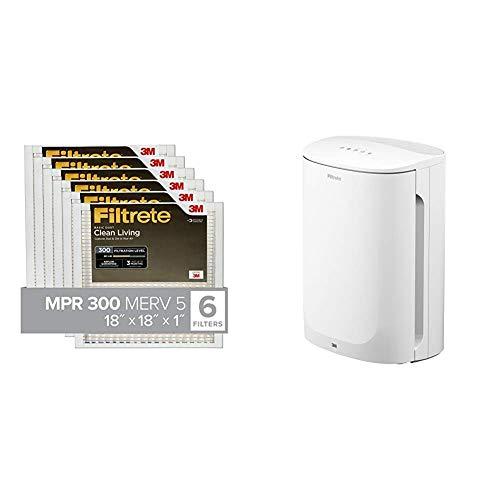 Filtrete 18x18x1, Air Filter, MPR 300, Clean Living Basic Dust, 6-Pack & Filtrete Small/Medium Air Purifier