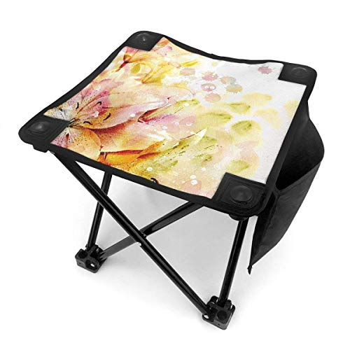End Nazi Camping Hocker Klappstühle Shabby Chic Lilien Blumen Knospen Blätter Creme Hellrosa Tragbarer Stuhl Sitz