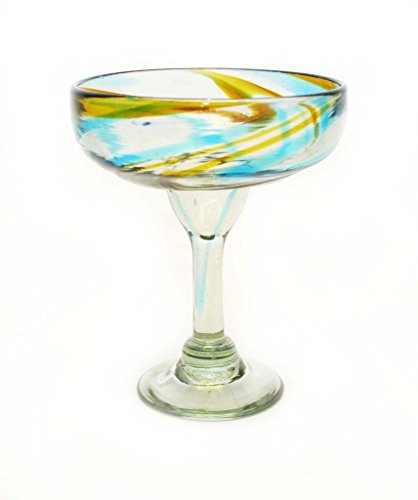 SET OF 4, AQUA AND AMBER SWIRL MARGARITA GLASSES, RECYCLED GLASS - 14OZ. HANDMADE.