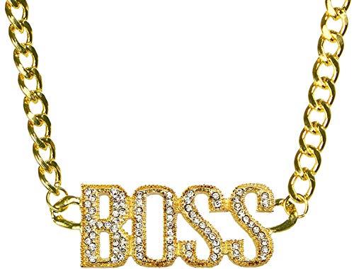 Balinco Goldkette BOSS | Rapper | Gold | Goldene | Gangster Kette - satter Goldlook - perfekt zum Protzen beim Karneval & Fasching