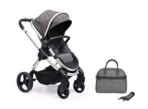 iCandy Peach Satin Dark Grey Check Pushchair & Carrycot Set with Bag