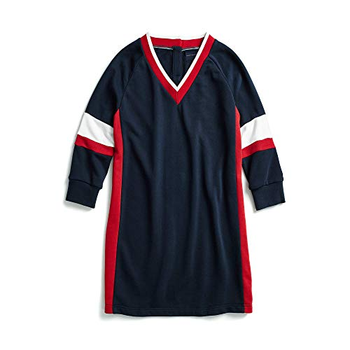 Tommy Hilfiger Women's Adaptive Sweatshirt Dress Varsity Stripe with Magnetic Buttons, black/chili/white, XL