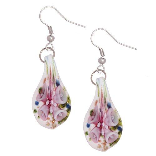 Bleek2Sheek Murano Inspired Glass Confetti Pink Flower Teardrop Hypoallergenic Earrings with Stainless Steel French Ear Hooks