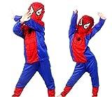 Vestito di Carnevale da Spiderman Maglia Pantaloni Maschera in tessuto Costume da Uomo Ragno Spider-man Idea Travestimento Bambino Taglia L 7-8 anni Cosplay Regalo
