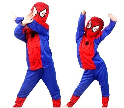 Vestito di Carnevale da Spiderman Maglia Pantaloni Maschera in tessuto Costume da Uomo Ragno Spider-man Travestimento Bambino Taglia M 5-6 anni Cosplay Idea Regalo