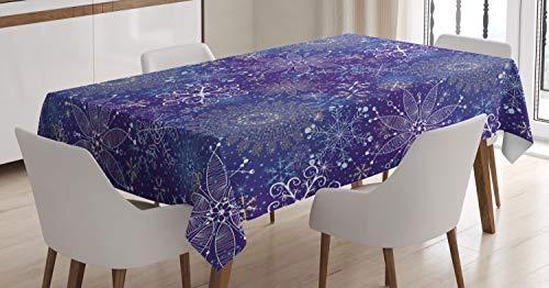 ABAKUHAUS Azul Oscuro Mantele, Arte de Navidad Copos de Nieve, Fácil de Limpiar Colores Firmes y Durables Lavable Personalizado, 140 x 170 cm, Multicolor