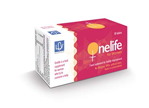OneLife for Women by LGV - Food Supplement to Improve Female Fertility, 1 Month Treatment, 60 Capsules, Combination of Vitamins & Ingredients for Women Trying to Conceive a Baby with Natural Process
