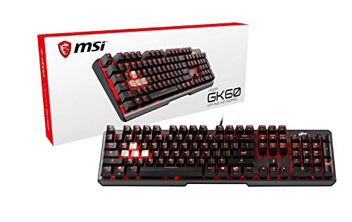 MSI Vigor GK60 IT Tastiera Gaming Meccanica (Cherry MX Red) LED Rosso Mystic Light, scocca in alluminio, passacavo per cuffie, 4 keycaps in metallo, ideale per Gaming e Ufficio, Layout ITALIANO QWERTY