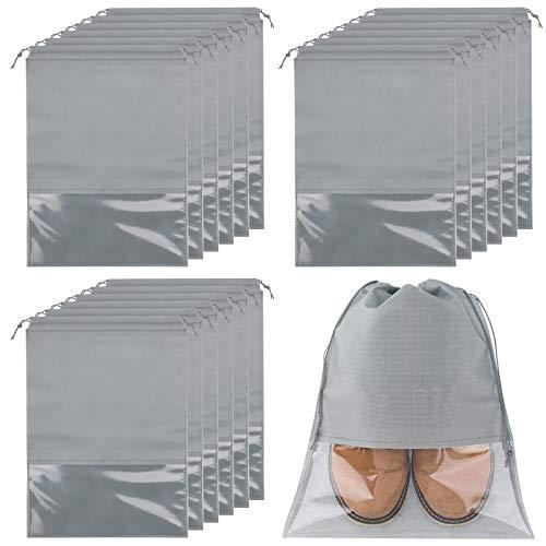 18er Schuhbeutel, Wasserabweisend Schuhtasche Staubdicht Schuhsack Stoffbeutel mit Zugband/Transparente Fenste, Ideal für Reisen oder Zuhause-Aufbewahrung, 32 * 44cm, Grau