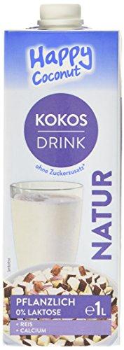 Kokosdrink von Happy Milchalternativen - Laktosefrei, Vegan, Glutenfrei, Sojafrei, Kokos-Reisdrink - Leichter Kokosgeschmack mit wenig Kalorien - 19kcal/100ml - 10er Pack (10x1l)