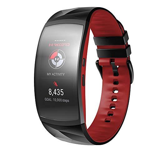 NotoCity Compatible con Correa Gear Fit 2 / Gear Fit 2 Pro Silicona Pulsera de Repuesto (S, Negro+Rojo)