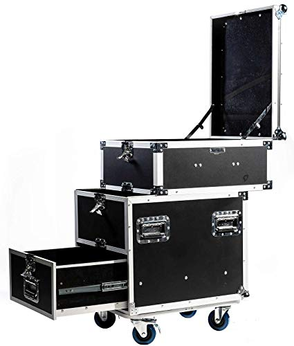 TEGO PRO 105295 Universal Transportcase mit Rollen, Fächer und Schublade, 51 x 60 x 92 cm Roadie Case Tourcase Multic Slide