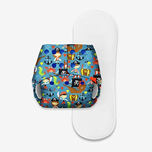 SuperBottoms Basic - Freesize Washable & Reusable waterproof Adjustable Pocket cloth diaper for babies-cloth diaper with dry feel cotton Pad (Soaker/insert) [Fits babies 5-17kgs] (Pirate)