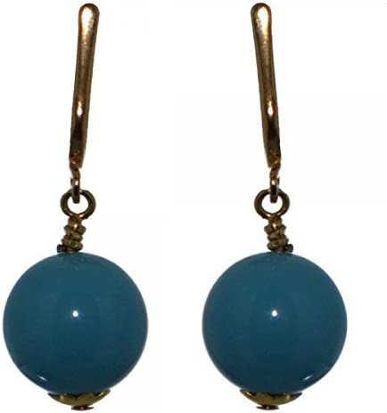 LINDSEY 12mm Gold Plated Turquoise Clip On Earrings