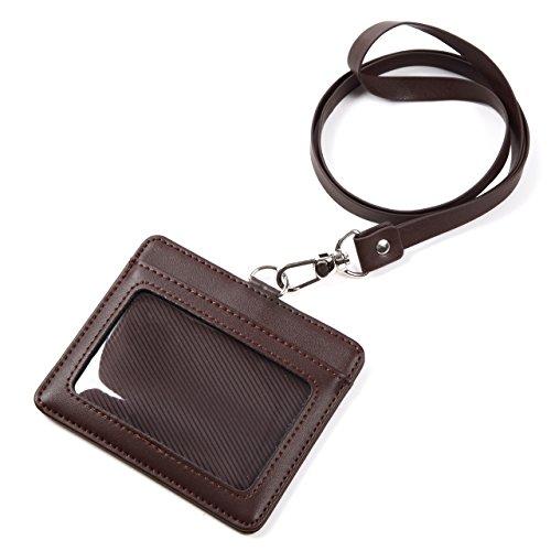 モノボックスジャパン 牛革 IDカードホルダー ネックストラップ ポケット2か所 安全装置 強化フィルム 軽量モデル パスケース 1name-mono3 (ブラウン)