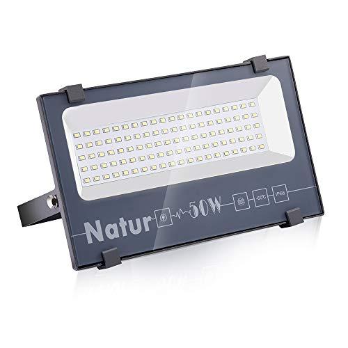 NATUR Faretto 50W Fari LED per Esterno 5000LM Proiettore Moda Leggero, Faro Impermeabile IP66 per Giardino Cortile, Lampada Luce Potente Super Luminosa 6000K Luce Bianca[Classe Energetica A++]