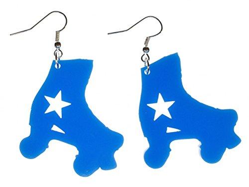 Miniblings Inlineskates Ohrringe Rollerskates Skates Rollschuhe blau Stern Retro - Handmade Modeschmuck I Ohrhänger Ohrschmuck versilbert