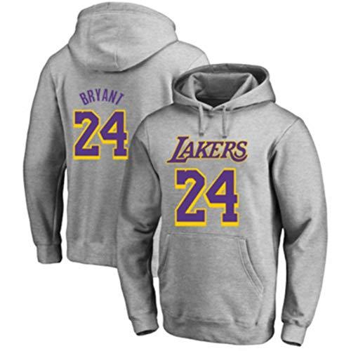NBA Kobe Bryant#24 Los Angeles Lakers Sudaderas Con Capucha Para Hombre Cosy Chaqueta Deportiva Sudadera Con Cremallera Completa Hoodie Casual Jerséis Top Blouse,No Se Desvanecerá Ni Encogerá,Gris,XXL