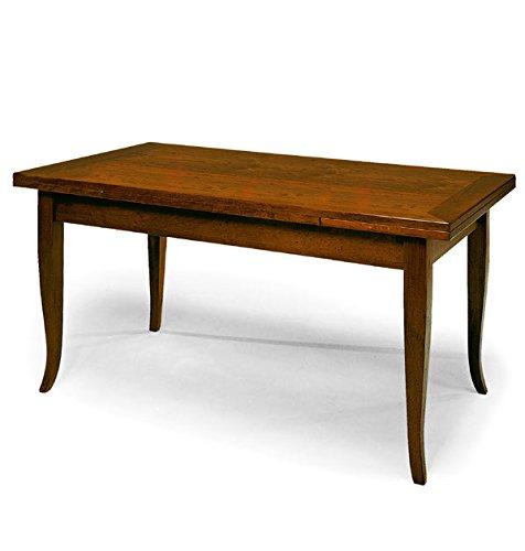 InHouse srls Tavolo con 2 allunghe da 40 cm, Arte povera, in Legno massello e MDF con rifinitura in Noce Lucido - Mis. 100 x 70 x 78 Chiuso