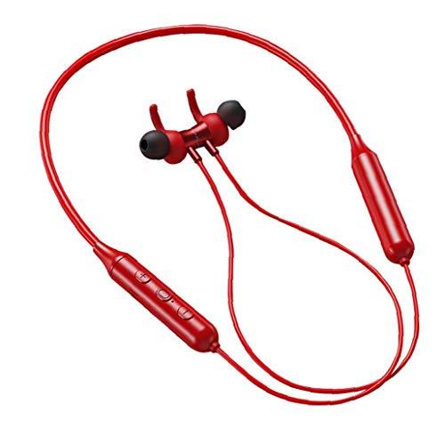 nJiaMe Bluetooth per Cuffie con Archetto da Collo Cuffie Auricolari Wirelesss Sport TWS DD9 Correre Cuffia Noise Reduction Impermeabile per Workout Red