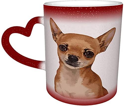MENYUAN Linda cabeza de Chihuahua mágica sensible al calor color cambiante taza en el cielo arte divertido tazas de café regalos personalizados para los amantes de la familia amigos-rojo