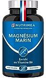 Magnésium Marin et Vitamine B6 - Jusqu'à 300 mg/jour -120 gélules d'origine végétales jusqu'à 4 mois de cure - Combat efficacement la fatigue - Nutrimea - Fabrication Française