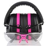 TRADESMART Pink Shooting Earmuffs & Clear Safety Glasses - 2 Piece Gun Range Kit
