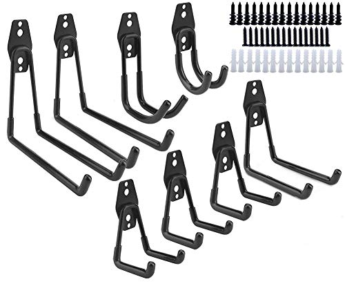 Dirza Utility Hooks Wall Mount Tool Holder U-Hooks for Home Garage Storage Organizer Garden Tools Shovels Rake Stroller Ladder Black 8 Pack