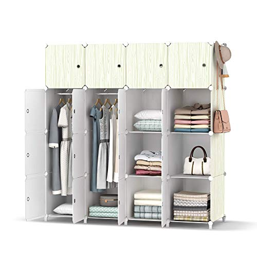 armoire organizers HOMIDEC Portable Closet Wardrobe with Clothes Hanging Rod, Closet Organizers and Storage Shelves Cabinet Armoire for Bedroom, (56x18x56'', 16 Cube)