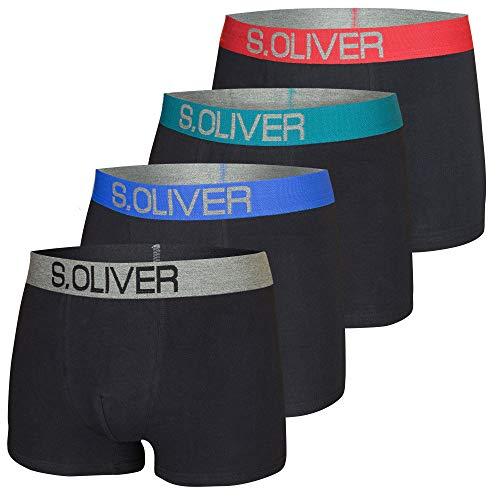 s.Oliver Red Label Herren Boxershorts, 4er Pack, Shorts, optimale Passform, bequem, weich, schick, hautsympatisch (M (5), schwarz mit farbigem Bund)