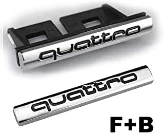 2pcs Set AM24 Black Car Styling Accessories Chromed Emblem Badge Decal Sticker Quattro Front Grille + Back For AUDI A1 A3 A4 A5 A6 A7 A8 Q3 Q5 Q7 TT R8 RS
