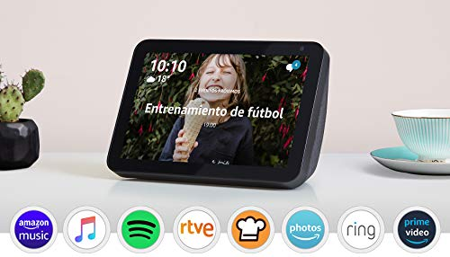 Echo Show 8, Tela de color antracita + Philips Hue White Pack de 2 bombillas LED inteligentes, compatible con Bluetooth y Zigbee, no se requiere controlador