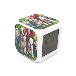 EGS New Dog Pup English Bulldog Digital Alarm Clock Green Desk Table Led Alarm Clock Creative Personalized Multifunctional Battery Alarm Clock Special Toy Gift for Unisex Kids Adults