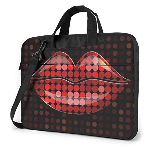 Glazen Icon Lips Laptop Case Laptop Schoudertas 15,6 inch, Laptop Sleeve Draagtas met riem
