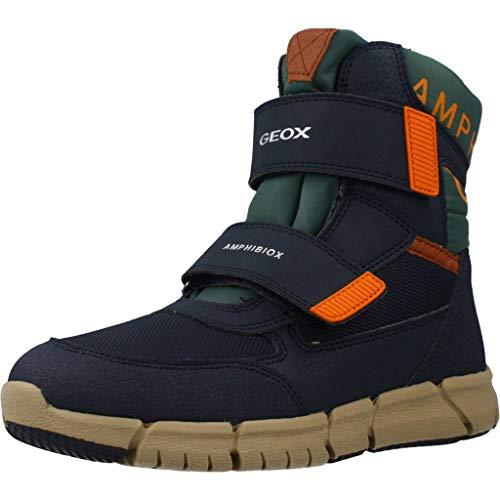 Geox Jungen High-Top Sneaker FLEXYPER Boy ABX, Kinder Sneaker,Sportschuh,Sneaker-Stiefelette,mid-Cut,atmungsaktiv,Navy/ORANGE,39 EU / 6 UK