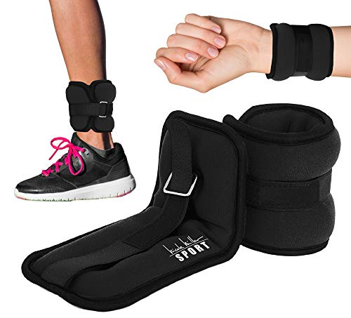 Nicole Miller Adjustable Ankle Weights for Women Strength Training Arm/Leg/Wrist Weights for Fitness Exercise Walking Jogging Gymnastics Aerobics and Gym 25 lb Each Black