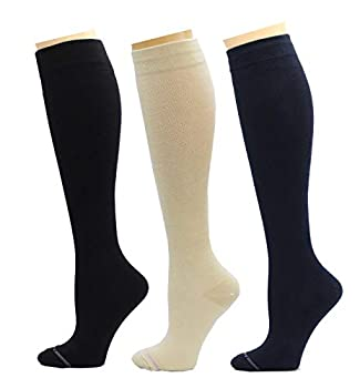 3 Pairs Women s Knee-high Therapeutic Graduated Anti-Fatigue 8-15mmHg Compression Socks  W8-Pack10