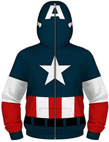 Silver Basic Chaqueta con Cremallera Unisex para Niños, Niñas y Niños con Superhéroes Sudadera con Capucha Estampada 3D de Capitán América