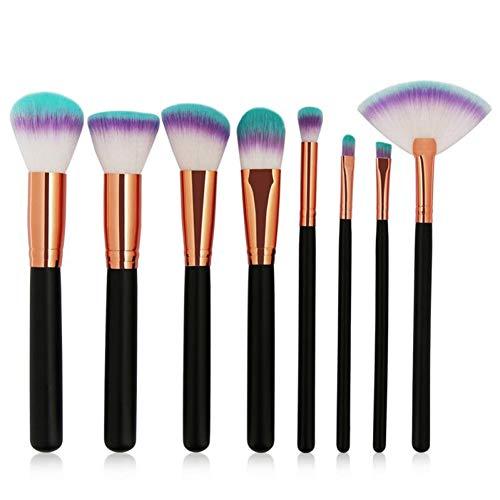 HZFROST 8Pcs Maquillage Pinceaux Ensemble Fondation Poudre Libre Blush Multifonctionnel Fard À Paupières Pinceau Cosmétiques Outils
