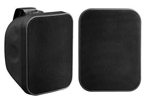 Paar Pronomic OLS-5 BK DJ PA Outdoor-Lautsprecher für Garten, Terrasse, Restaurant (2X 80 Watt, Schutzart IP56, 8 Ohm, 5,25