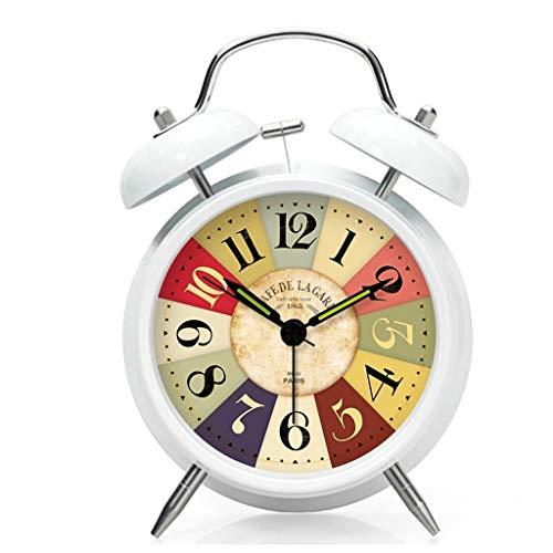Luz nocturna analógica Reloj despertador silencios Despertador silencioso europeo, despertador luminoso de la cabecera creativa de Shell del metal del indicador luminoso Reloj ruidoso fácil de configu