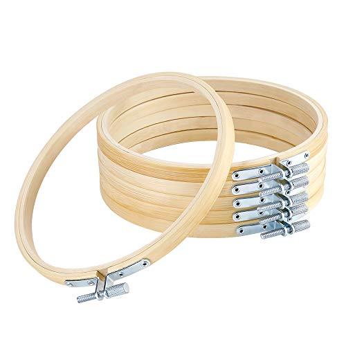 Pllieay 6 Stück 15 cm Runde Stickrahmen Bambus Kreis Kreuzstich Kreolen für Handwerk Nähen