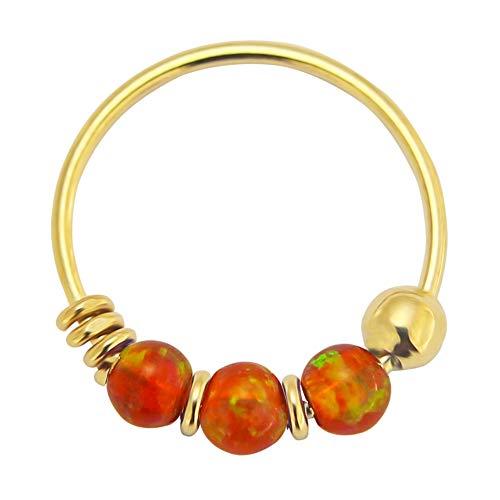 Monster Piercing 9K oro sólido amarillo naranja Triple Opal Bead calibre 22 del aro del anillo de nariz de la nariz joyería para Opal oro amarillo naranja