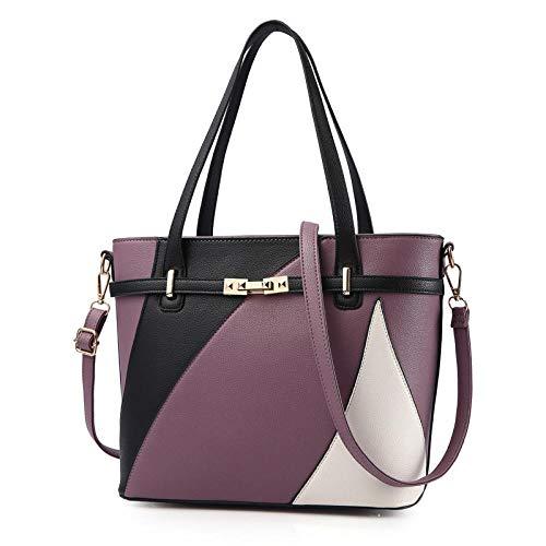 Bunte weibliche Handtasche kann die Schulter-PU-Leder-Gewebe-Tasche lieben-Dunkelviolett