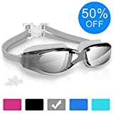 LifeMaster Swimming Goggles Anti Fog Swim Goggles Crystal Clear 180° Panoramic Vision Mirrored
