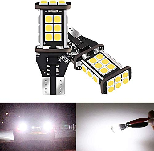 Bombillas LED de repuesto para luces de marcha atrás – T16/T15/921/912 LED de repuesto para luces de seguridad, color blanco de alto rendimiento, extremadamente brillante, 1200 lúmenes, sin errores, chips 3030, DC 12 V 4,5 W (paquete de 2)