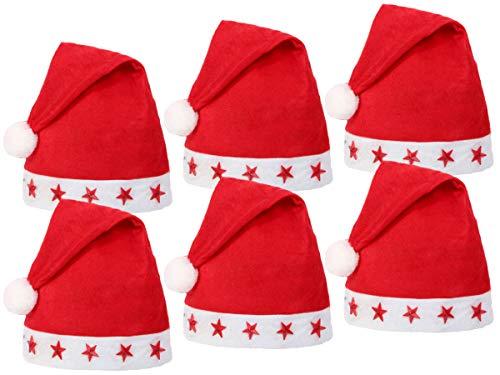 Lot de 6 Bonnets de Noel (wm-15) Lumineux avec LED Chapeau de Père Noël pour Adultes Rouge et Blanc en Feutre avec Pompon Taille Unique Accessoire Fête Homme et Femme