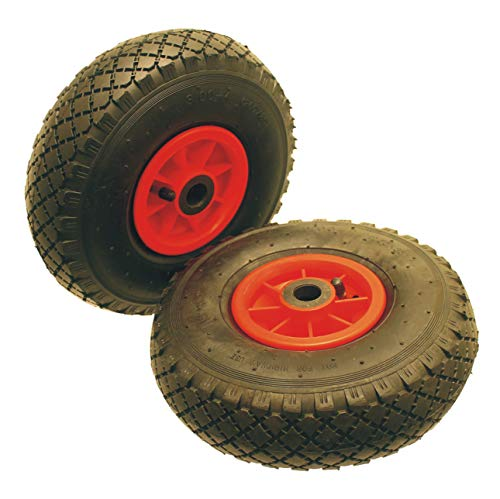 A pair of 10 inch Pneumatic Wheels Size 3.00-4 300-4 300x4 (260 x 85) Needle Roller Bearing to Suit a 20mm Axle Shaft. Suitable For Trolleys, Sack Barrows, Jockey Wheels Carts And Wagons.