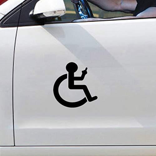 auto aufkleber 12,9 Cm x 13,2 Cm Cartoon Rollstuhl Finger Up Auto Aufkleber Aufkleber Für Auto Laptop Fenster Aufkleber